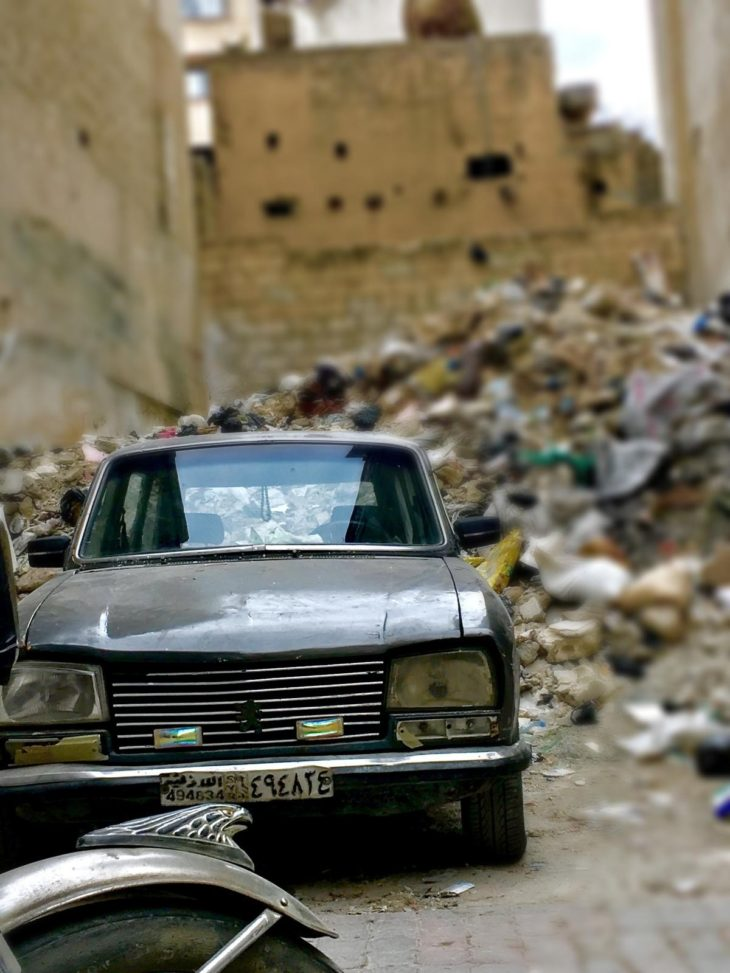 car in rubble