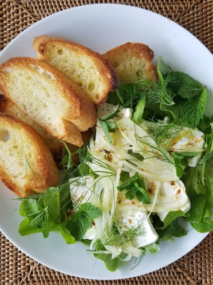 Broiled Feta with Fennel and Mixed Microgreens