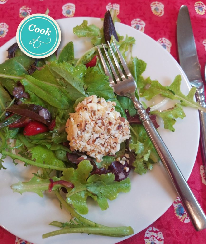 Fresh Greens and Cherry Salad with Warm Goat Cheese