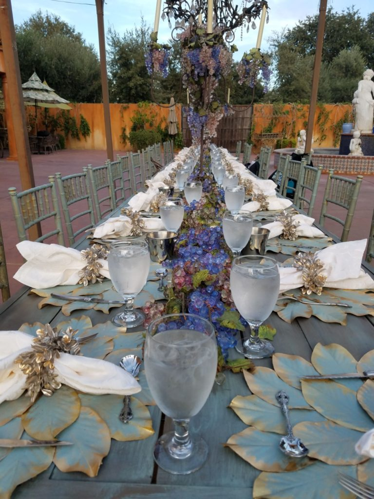 Table set for a wine dinner at St Jorge Winery