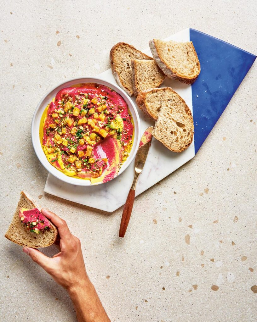 Pink and Gold Beet Dip with Pine Nuts