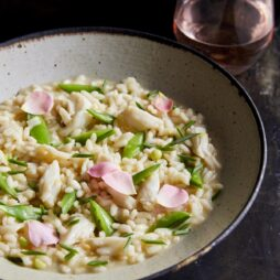 Rose Risotto with Crab and Snap Peas