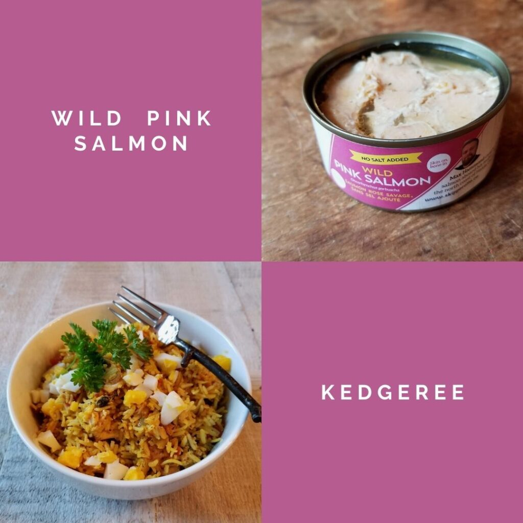 can of wild pink salmon with recipe image kedgeree