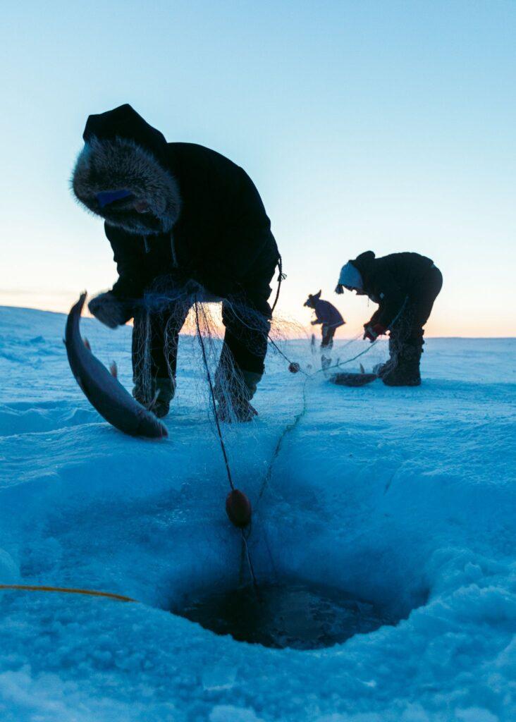 Ice fishing in Nunavut